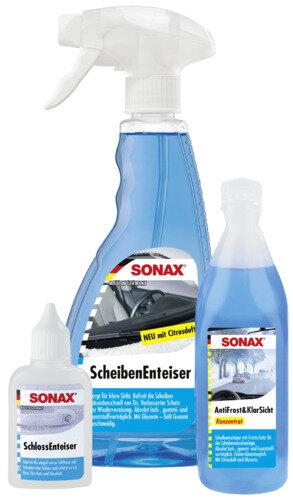 SONAX WinterFitSet dreiteilig - Scheibenenteiser - Schlossenteiser - Klarsicht Konzentrat